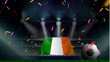 Fans hold the flag of Ireland among silhouette of crowd audience in soccer stadium with confetti to celebrate football game. Concept design for football result template - 259132732