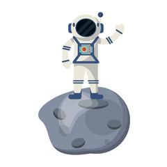 Astronaut on asteroid cartoon