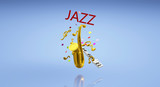 The 3d rendering saxophone jazz music festival content..