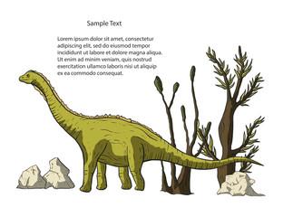 Diplodocus Dinosaur vector. © trihubova