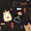 seamless pattern vector of funny animals  cartoon, bear ,dog and cat - 259143931
