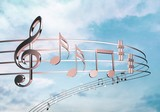Music notes isolated on  background