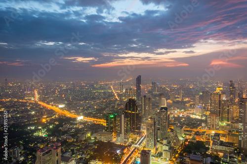 Fototapeten Bangkok Night time view over Bangkok, Thailand