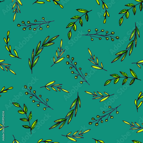 Seamless pattern of leaves. Print for fabric and other surfaces. © Мария Падалец