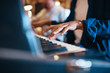 Leinwandbild Motiv Musician playing keyboards during a recording studio session