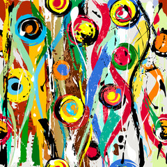 abstract background composition, with circles, waves, paint strokes and splashes