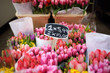 Leinwandbild Motiv The famous Amsterdam flower market (Bloemenmarkt). Multicolor tulips. The Symbol Of The Netherlands.