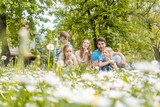 Family of five sitting on a meadow blowing dandelion flowers