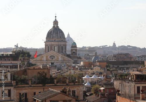 fototapeta na ścianę many roofs and dome in Rome Italy