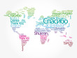 Thank You in different languages word cloud in shape of World Map, concept background - 259179999