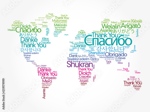 Thank You in different languages word cloud in shape of World Map, concept background © dizain