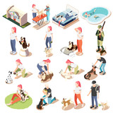 Ordinary Life Of Man And His Dog Isometric Icon Set