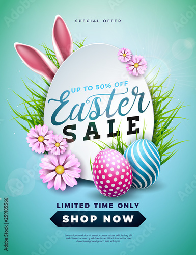 Easter Sale Illustration with Color Painted Egg, Spring Flower and Rabbit Ears on Blue Background. Vector Holiday Design Template for Coupon, Banner, Voucher or Promotional Poster. - 259185566