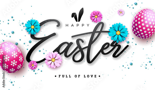 Happy Easter Illustration with Red Painted Egg and Spring Flower on White Background. International Holiday Celebration Vector Design with Typography Letter for Greeting Card, Party Invitation or - 259186990