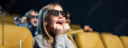 panoramic shot of exited multicultural friends in 3d glasses watching movie together © LIGHTFIELD STUDIOS