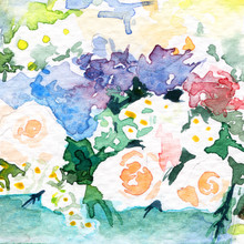 "Постер, картина, фотообои ""flowers in the garden roses. hydrangea. sunny. spring Summer . watercolor"""