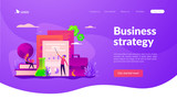 ICO investment document, startup business strategy, product development plan and white paper concept. Website interface UI template. Landing web page with infographic concept creative hero header