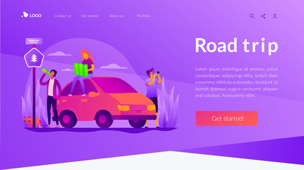 Road trip, road traveling journey, traveling by car concept. Website interface UI template. Landing web page with infographic concept creative hero header image.