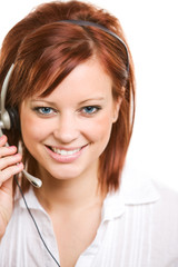 CSR: Front View of Pretty Customer Representative