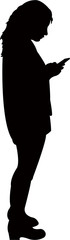 woman using smart phone, silhouette vector © turkishblue