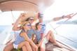Quadro family on sea yacht