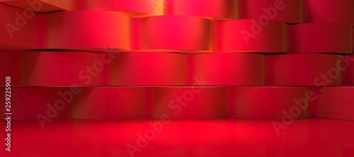 3D Render, wall scenery red illumination  spotlight - 259225908