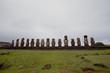 Quadro Carved stone statues - Moais - Abu Tongariki, Easter Island (Rapa Nui/ Easter Island) - Chile