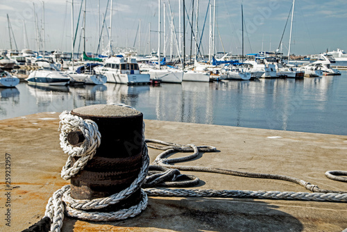 Coiled rope on a fishing boat in Florida.