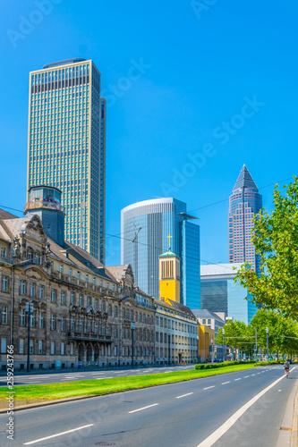 Leinwandbild Motiv View of Friedrich Ebert Anlage street with Messeturm on background, Frankfurt, Germany