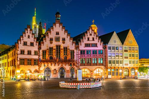 Leinwandbild Motiv Night view of Romerberg square in Frankfurt, Germany.