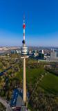 Beautiful drone shot of Viennas Danube Tower
