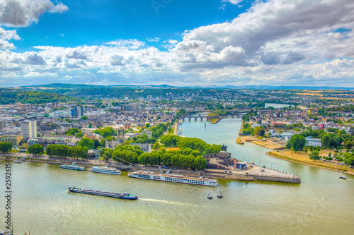 Leinwandbild Motiv Aerial view of confluence of Rhein and Mosel rivers in Koblenz, Germany