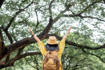 Asian traveler woman backpacker raise arm up look at view and enjoy moment at green forest season,Freedom wanderlust travel.solo backpack.