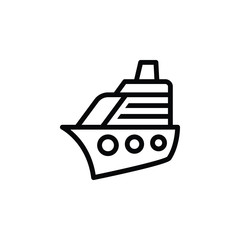 Black line icon for yacht cruise