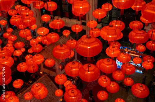 Chinese red lanterns in a modern Shopping Mall to celebrate the upcoming Chinese new year in Kuala Lumpur.