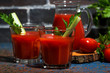 fresh tomato juice in glass cups, closeup