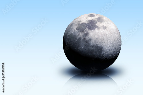 Moon planet on blue isolated plane. Elements of this image furnished by NASA - 259285174