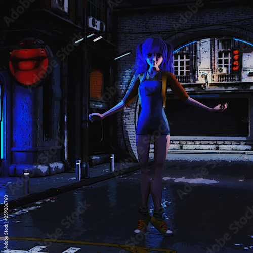 3D Illustration of a futuristic urban Scene with Manga Girl - 259286760