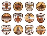 Music icons of microphone and musical instruments