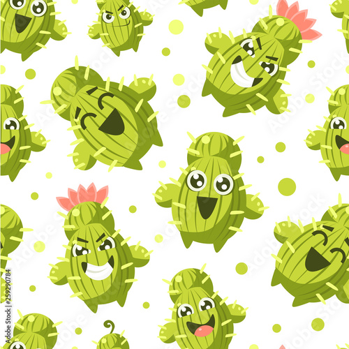 Cactus Seamless Pattern, Cacti Characters with Funny Faces Vector Illustration - 259290784