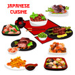 Japanese meat, vegetable dishes with asian sauces