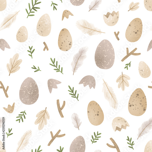 Eggs and feathers seamless pattern - 259296359