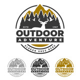 Outdoor life logo, deer forest and mountain peak, adventure emblem
