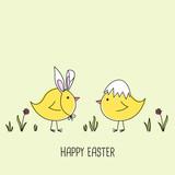 Cute cartoon chicks, happy easter, vector illustration