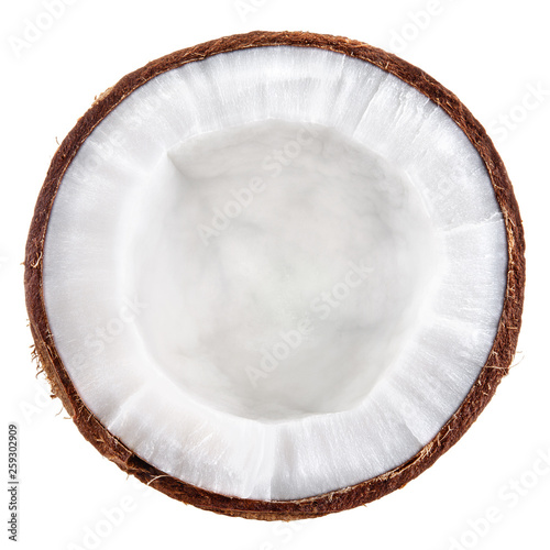 Coconut isolate top view. High quality white coconut slice texture. © Tim UR