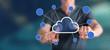 Man touching a cloud networking