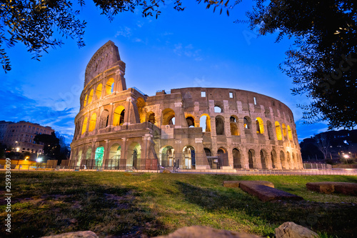 Colosseum of Rome dawn view