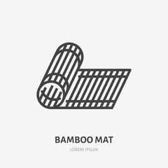 Bamboo mat flat line icon. Vector thin sign of tatami. House decoration illustration © nadiinko