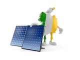 Ireland character with photovoltaic panel
