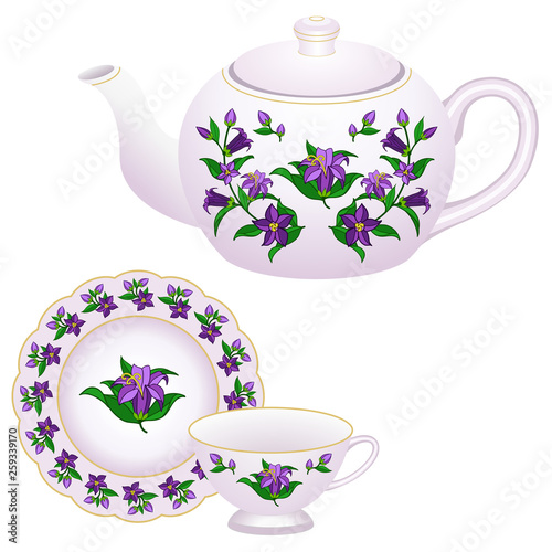 Porcelain tea party set decorated in oriental style. © Amarylle